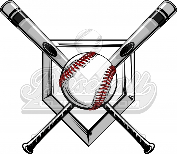 590x513 Crossed Baseball Bats Logo. Baseball Bats Image With Baseball.