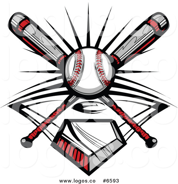 600x620 Royalty Free Of Logo Of Crossed Baseball Batsnd Ball Over