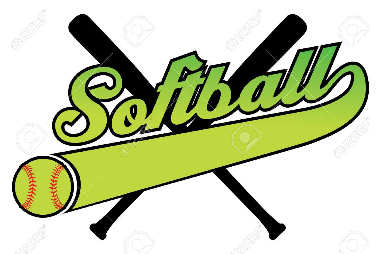 1300x866 Softball With Banner And Ballr Is An Illustration Of A Softball