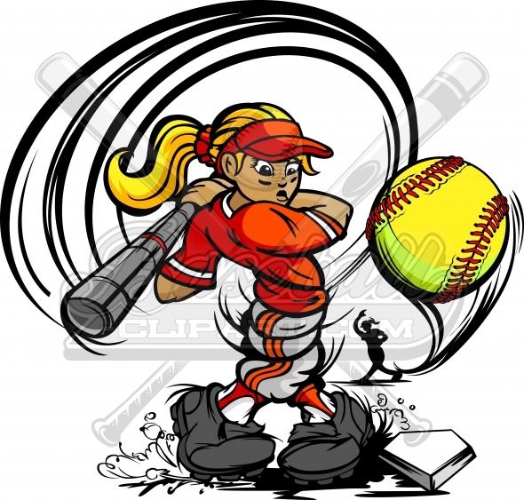 590x563 Fastpitch Softball Batter Cartoon. Softball Batter Clipart.