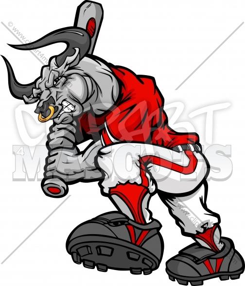 504x590 Baseball Bull Batter Cartoon Vector Image