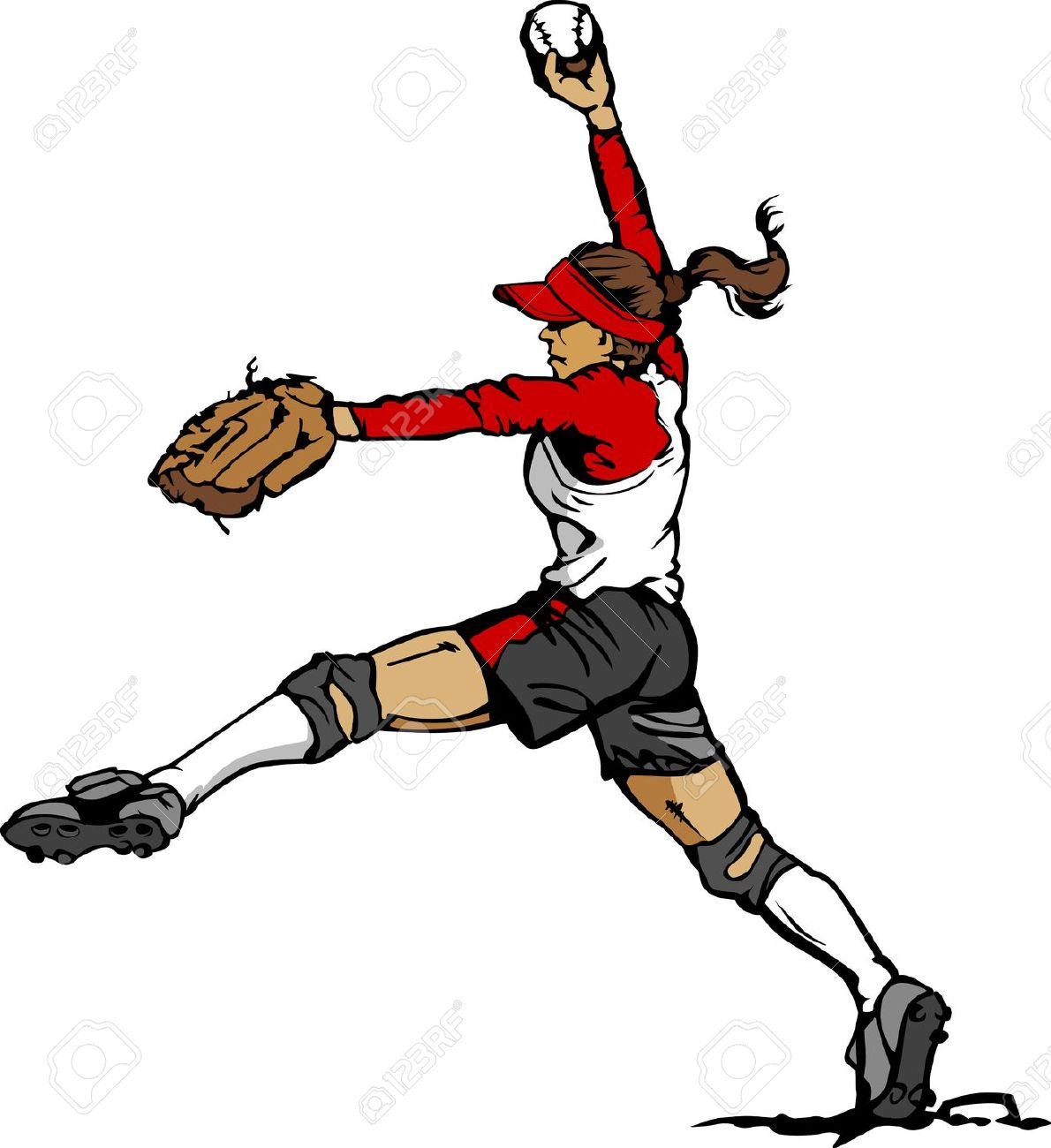 1190x1300 Fastpitch Softball Clipart