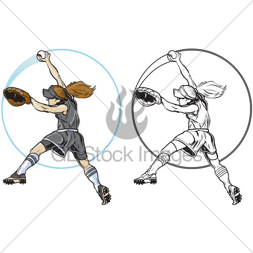 500x500 Female Softball Player Pitching Vector Clip Art Gl Stock Images