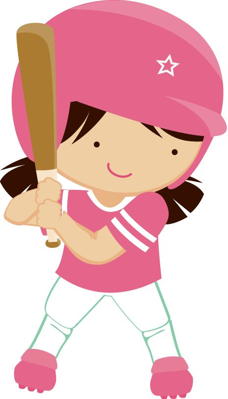 Softball little girl. Cartoon images clipart free