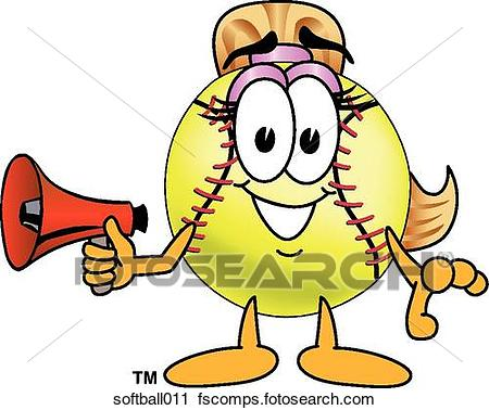 450x378 Clipart Of Softball With Megaphone Softball011
