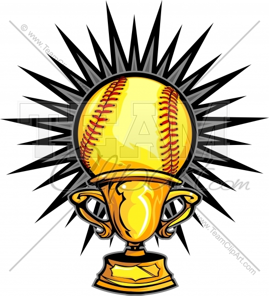 536x590 Fastpitch Softball Trophy Clipart Image.
