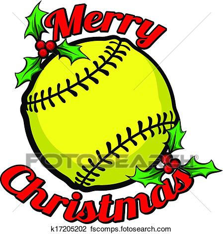 449x470 Clipart Of Softball Merry Christmas K17205202