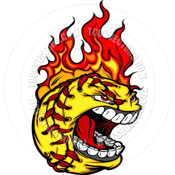 564x564 Flaming Softball Clipart