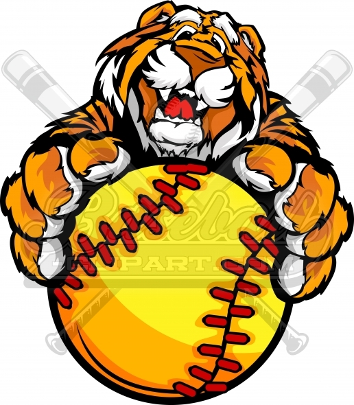516x590 Tiger Fastpitch Softball Clipart With His Paws On A Softball Image