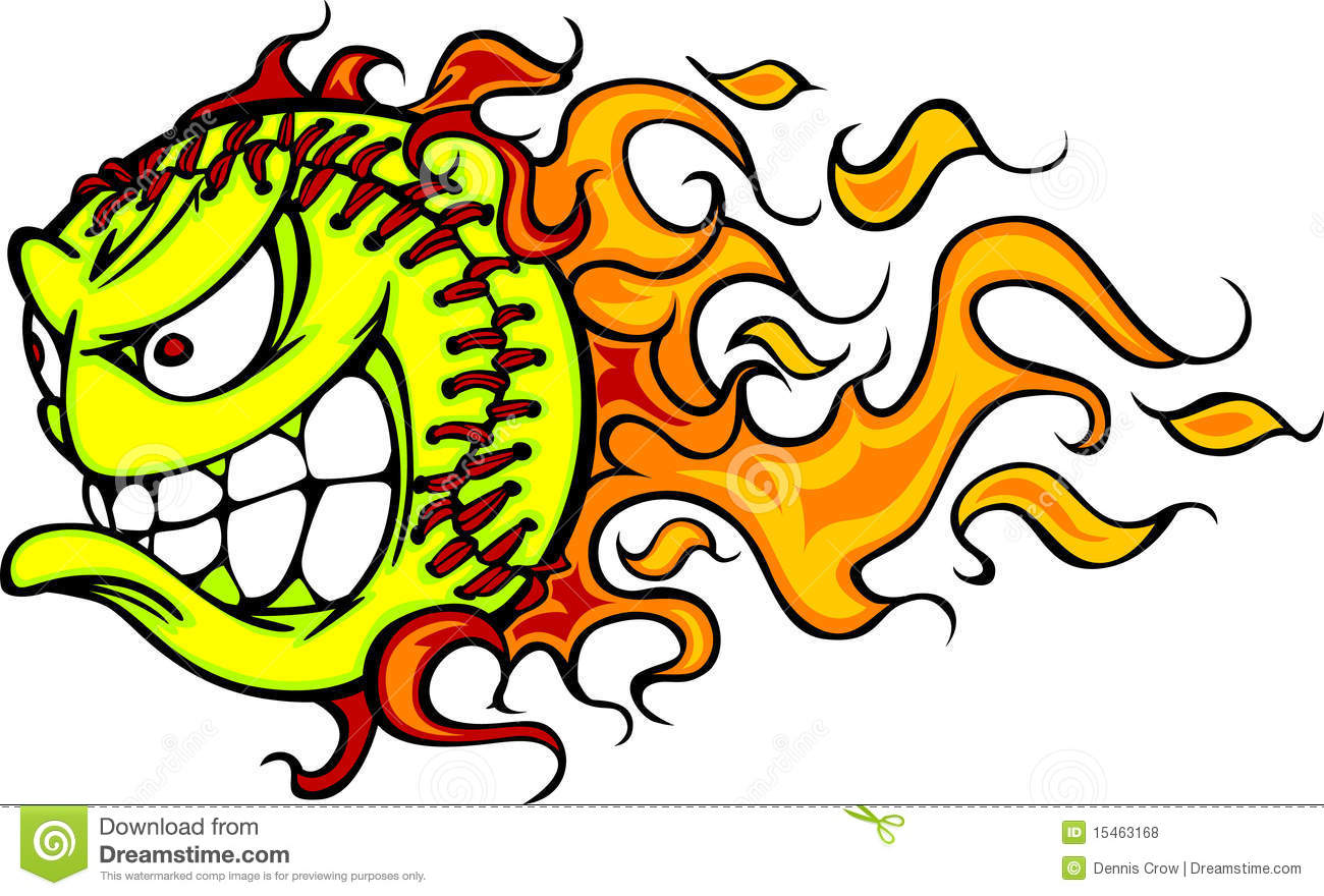 1300x880 Flaming Softball Clipart