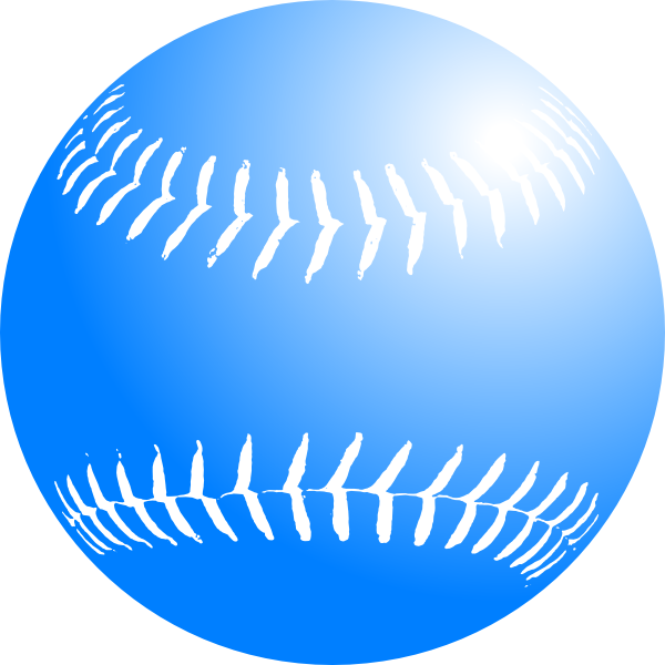600x600 Blue Softball Clip Art