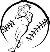 164x170 Clipart Of Softball Player Throwing In Ball K19641633