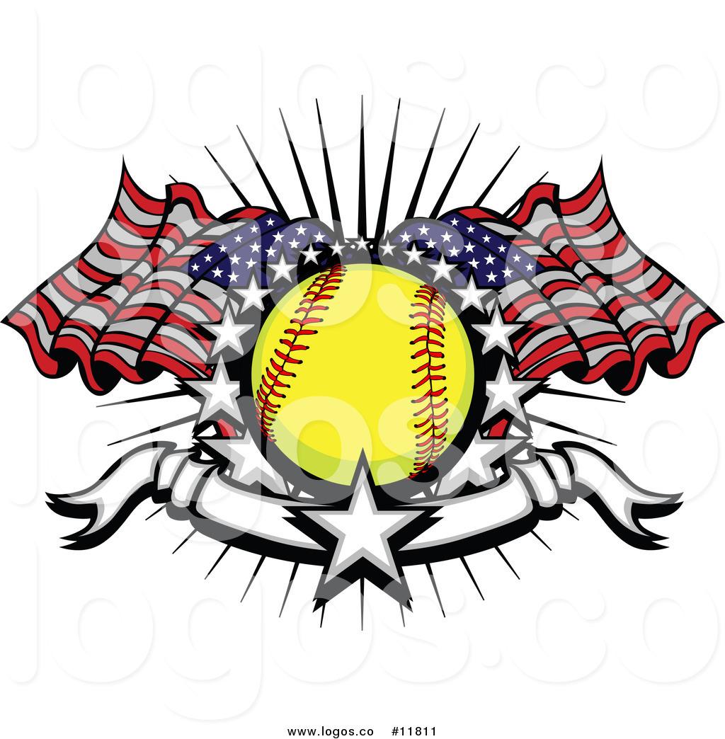 1024x1044 Royalty Free Vector Of Softballndmerican Flags Starsnd