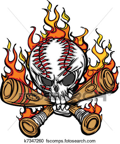 394x470 Clipart Of Softball Baseball Skull And Bats Fl K7347260