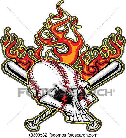 428x470 Clipart Of Softball Baseball Skull And Bats Fl K8309532
