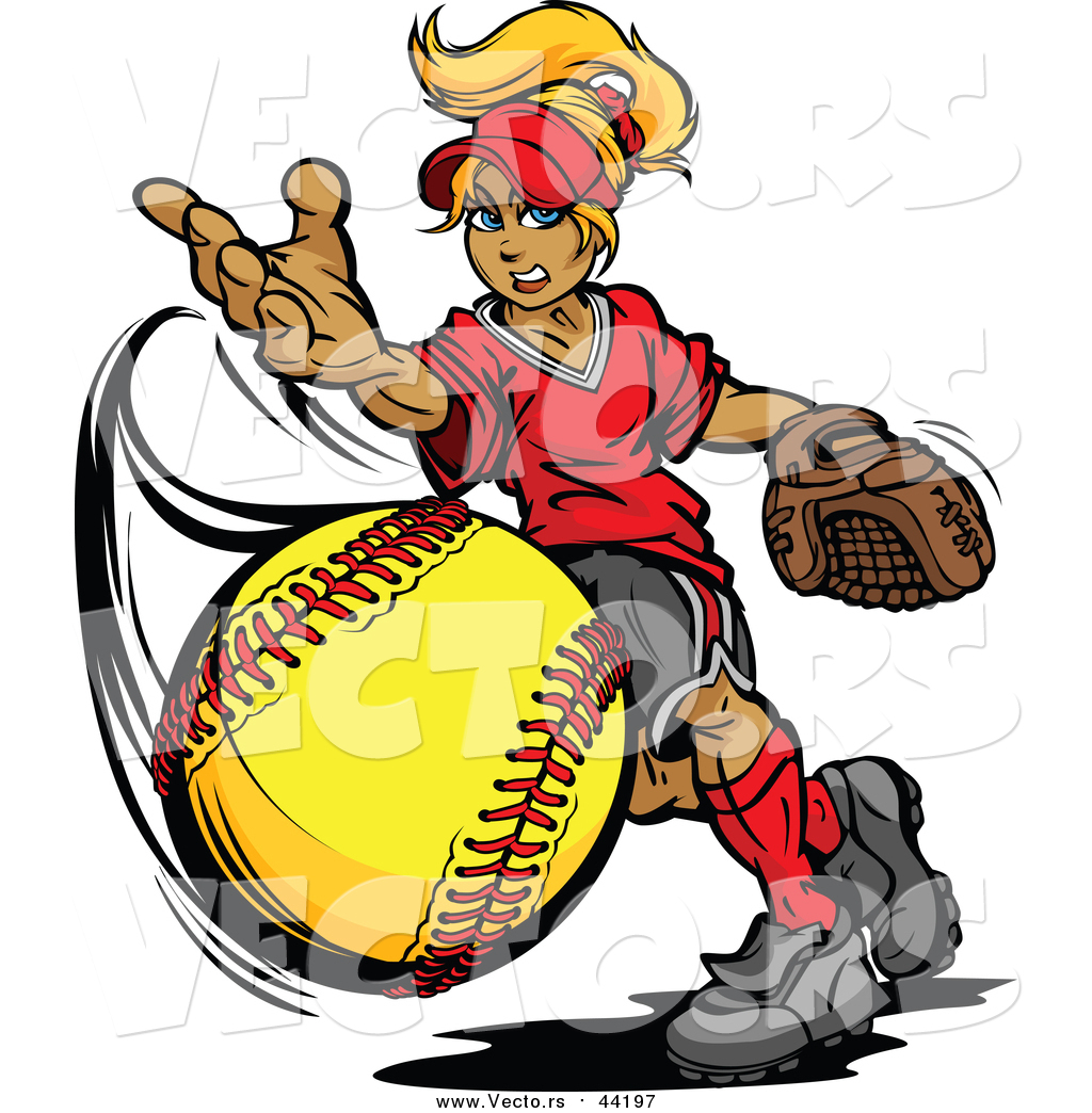 1024x1044 Vector Of A Blond Caucasian Tomboy Girl Pitching A Softball By