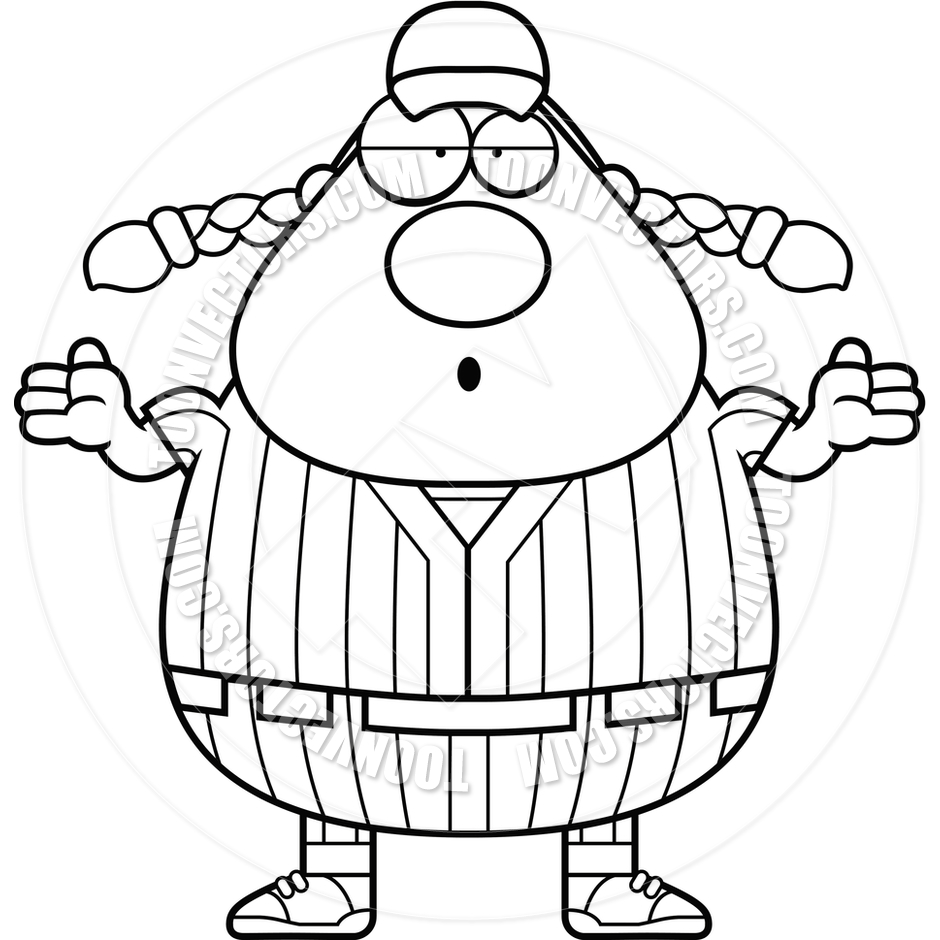 940x940 Confused Softball Player (Black And White Line Art) By Cory Thoman