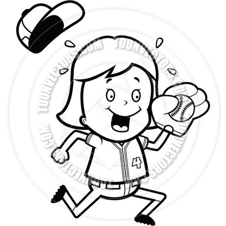 460x460 Cartoon Child Softball (Black And White Line Art) By Cory Thoman