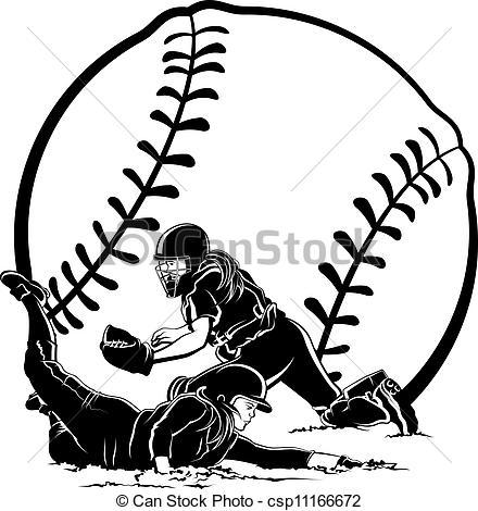 440x470 Girl Softball Clipart