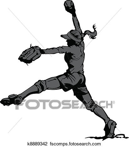 411x470 Clipart Of Fast Pitch Softball Pitcher K8889342