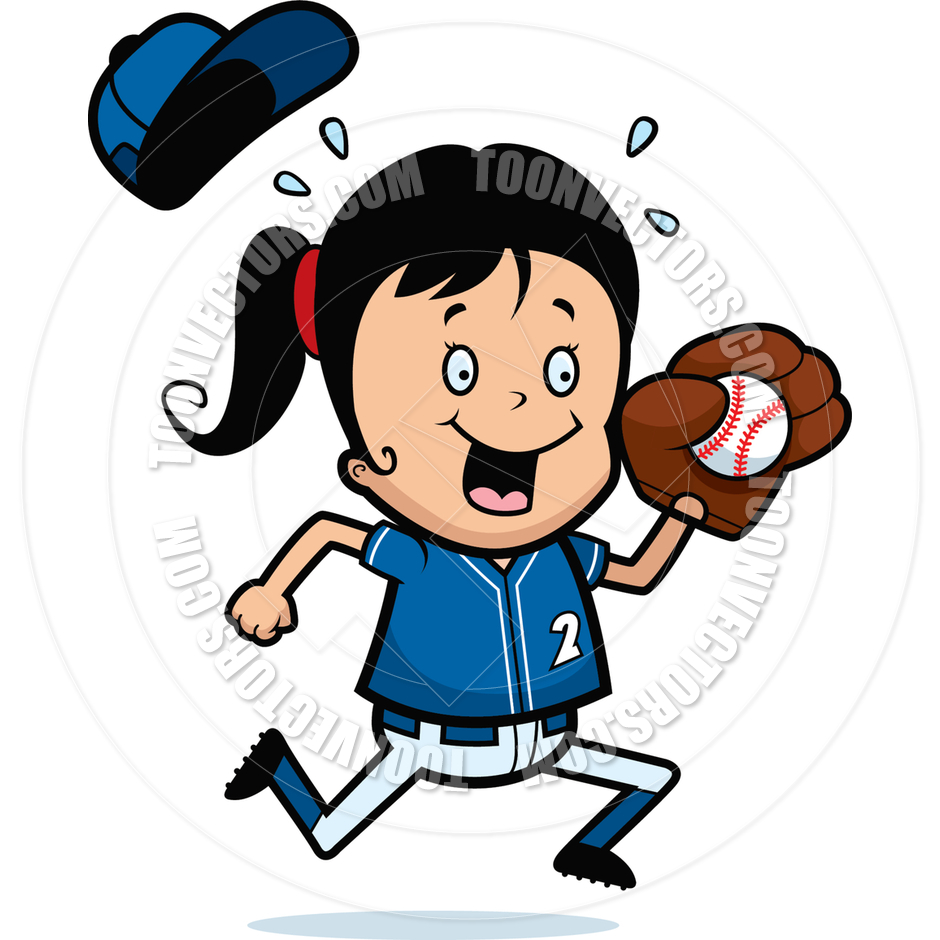 940x940 Cartoon Girl Softball By Cory Thoman Toon Vectors Eps