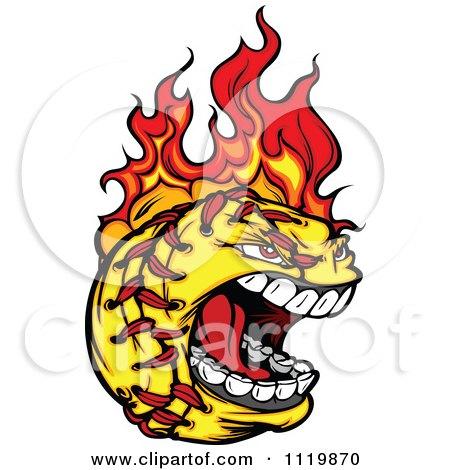 450x470 Cartoon Of A Fiery Aggressive Screaming Softball Mascot