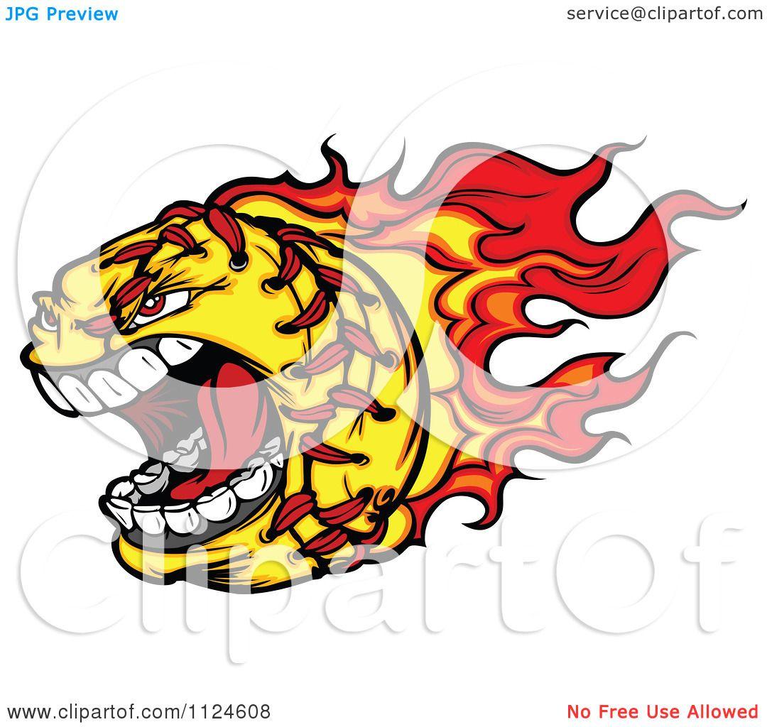 1080x1024 Cartoon Of A Flaming Aggressive Screaming Softball Mascot