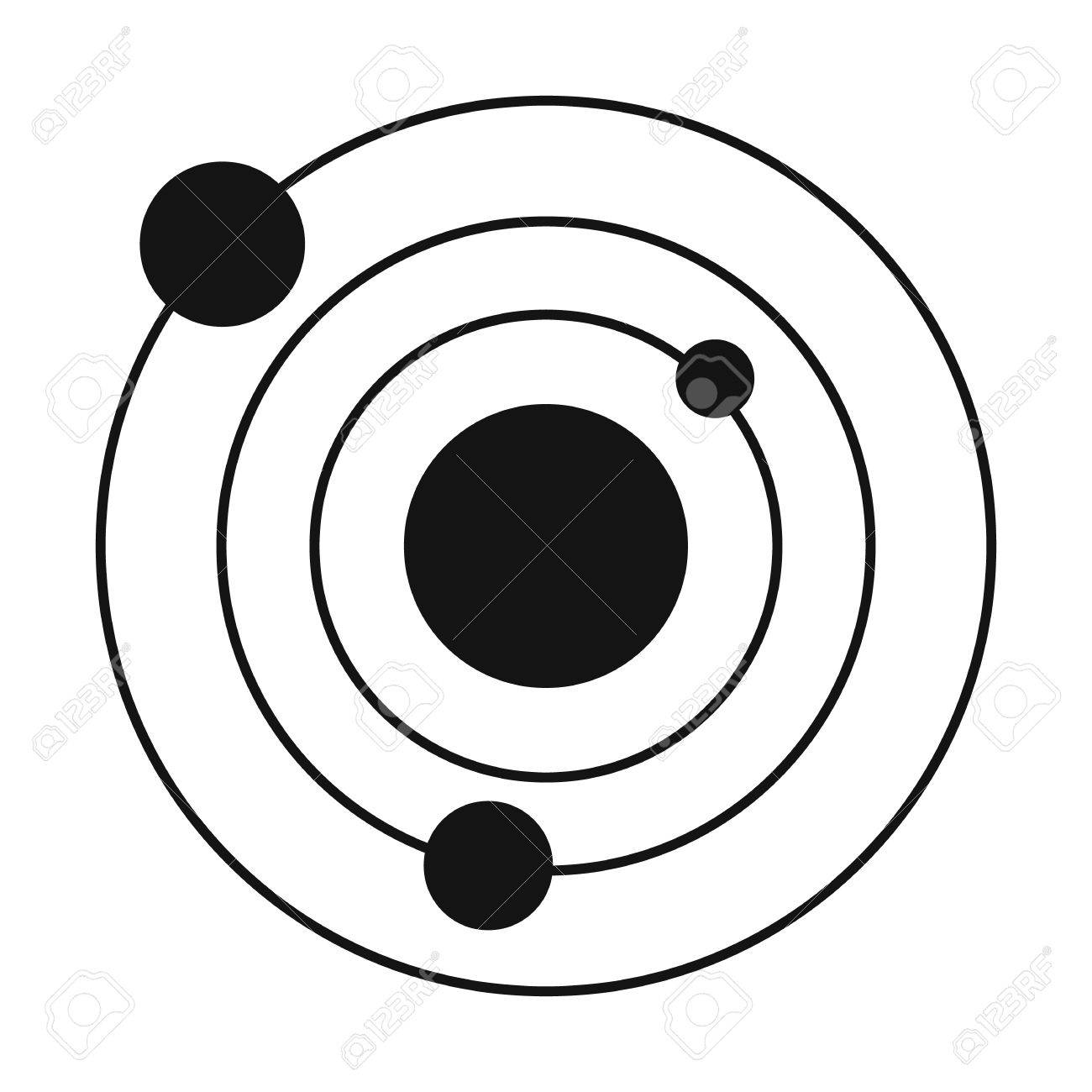 1300x1300 Solar System Black Simple Icon Isolated On White Background
