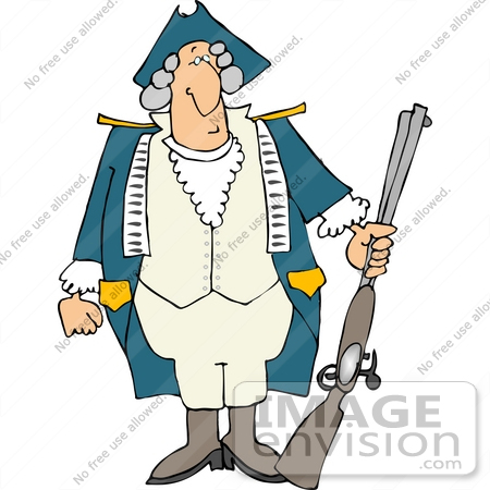 450x450 Revolutionary War Soldier In A Wig And Uniform, Holding A Rifle