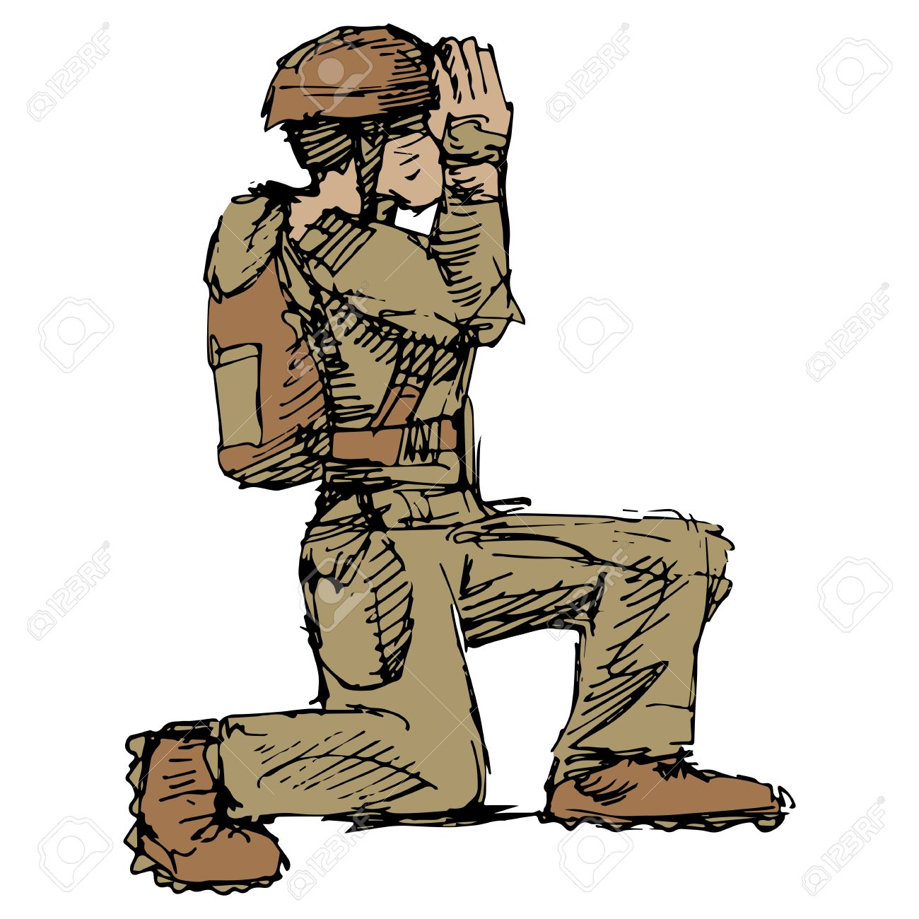 Soldier Kneeling In Prayer Clipart | Free download best Soldier