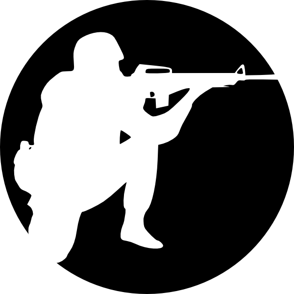 600x600 Circle Soldier Aiming Clip Art
