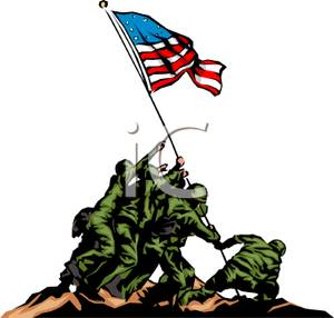 300x286 Art Image American Soldiers Raising A Flag At Iwo Jima