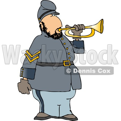 400x400 Civil War Soldier Blowing Into A Bugle Horn Clipart Djart