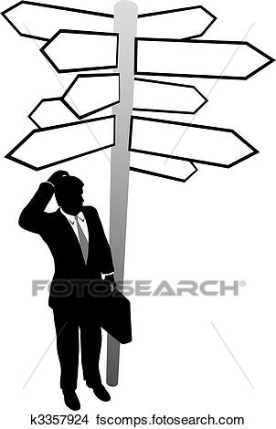 302x470 Clipart Of Business Man Search Decision Directions Signs Solution