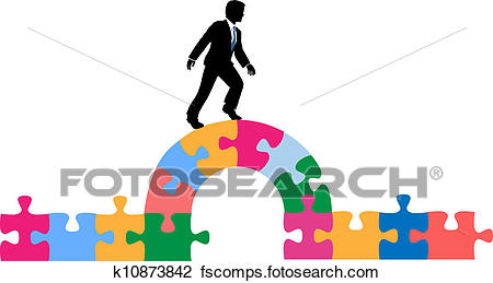 450x259 Clipart Of Business Person Puzzle Bridge To Solution K10873842
