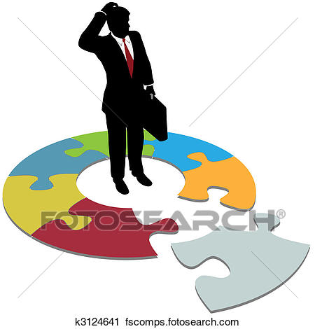 450x470 Clipart Of Puzzled Business Man Questions Missing Solution Piece