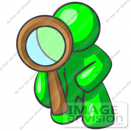 450x450 Clip Art Graphic Of A Green Guy Character Kneeling And Looking