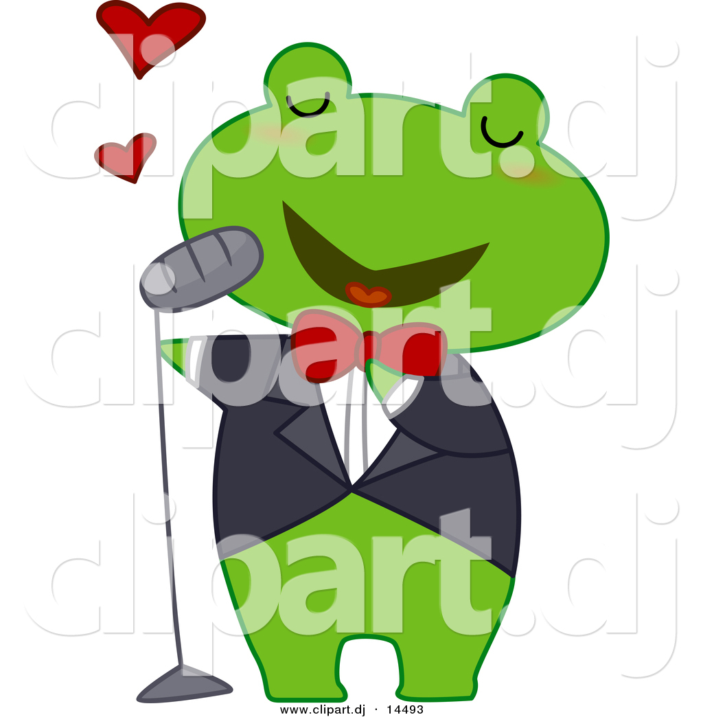 1024x1044 Vector Clipart Of A Cartoon Frog Singing Love Songs By Bnp Design