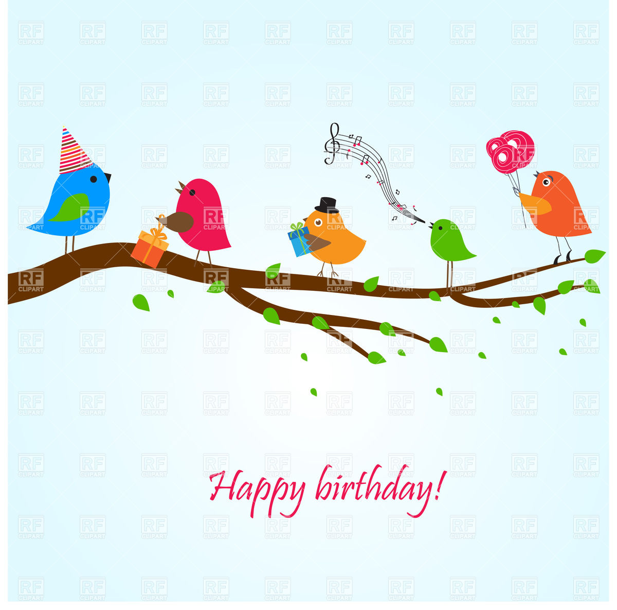 1200x1185 Birthday Greeting Card With Birds On The Branch Singing Songs