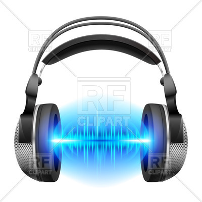 400x400 Headphones With Blue Sound Waves Isolated On White Royalty Free