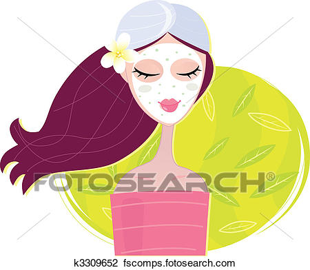 450x392 Clipart Of Spa Girl With Regeneration Facial Mask K3309652