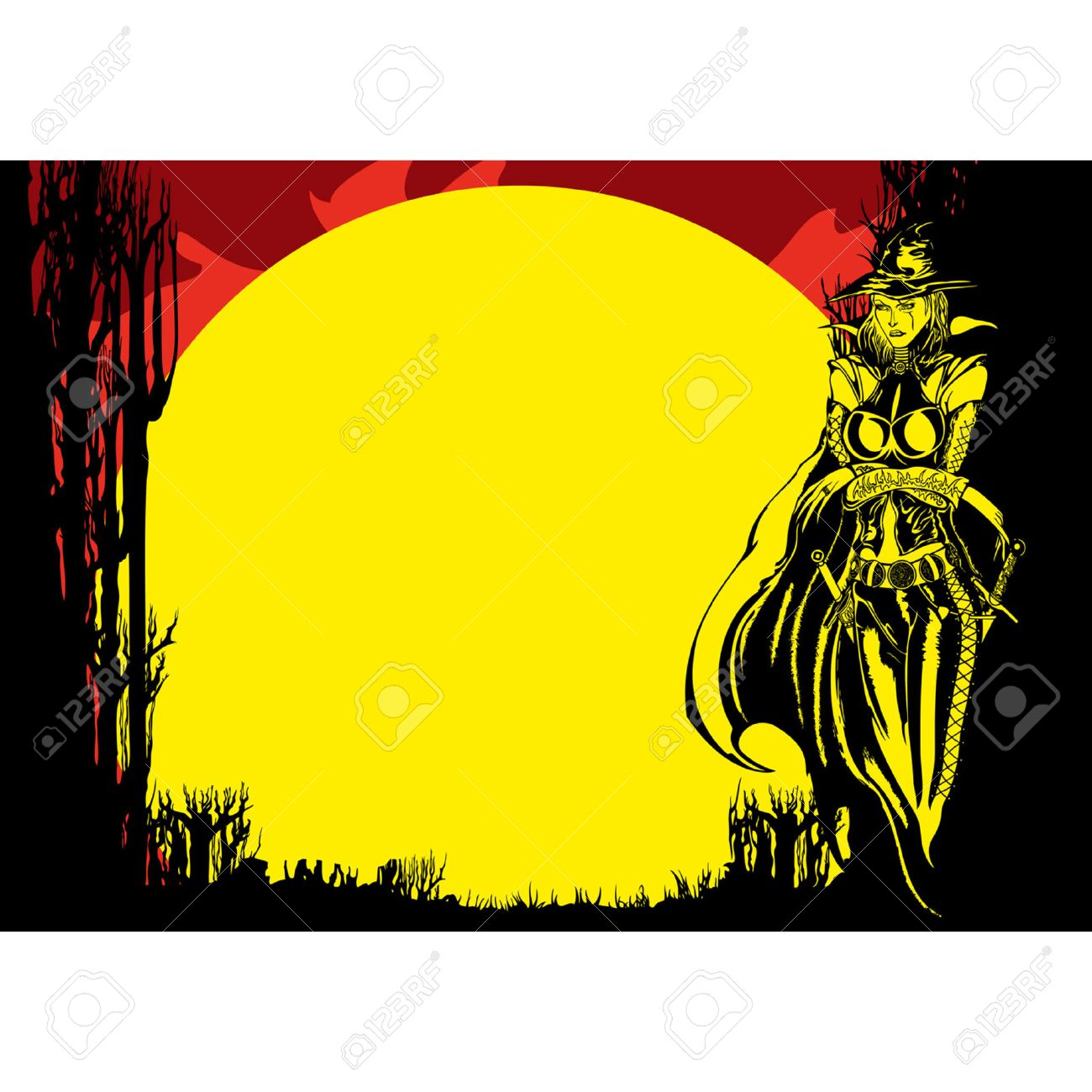 1300x1300 Halloween Flyer With Witch In The Forest In The Moonlight, Vector