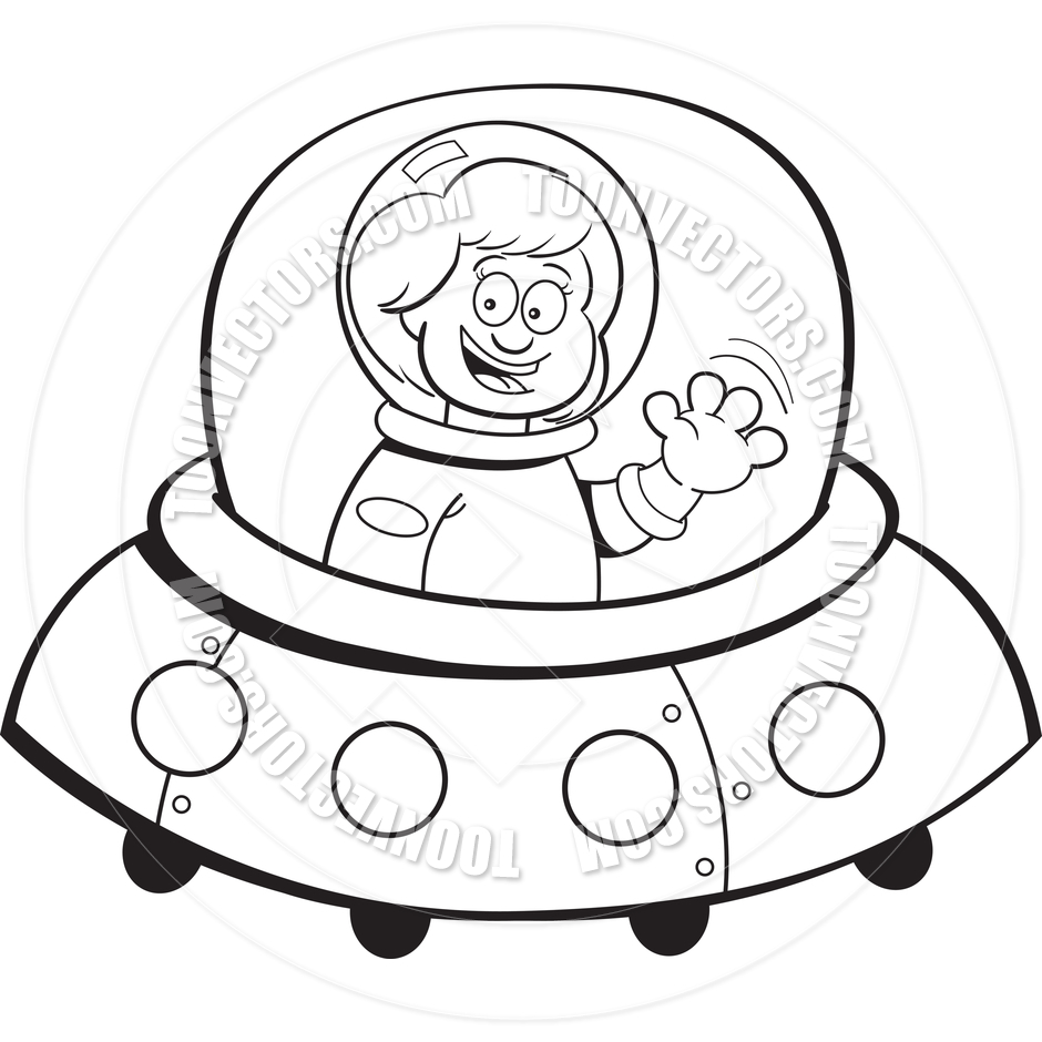 940x940 Cartoon Girl In A Spaceship (Black And White Line Art) By