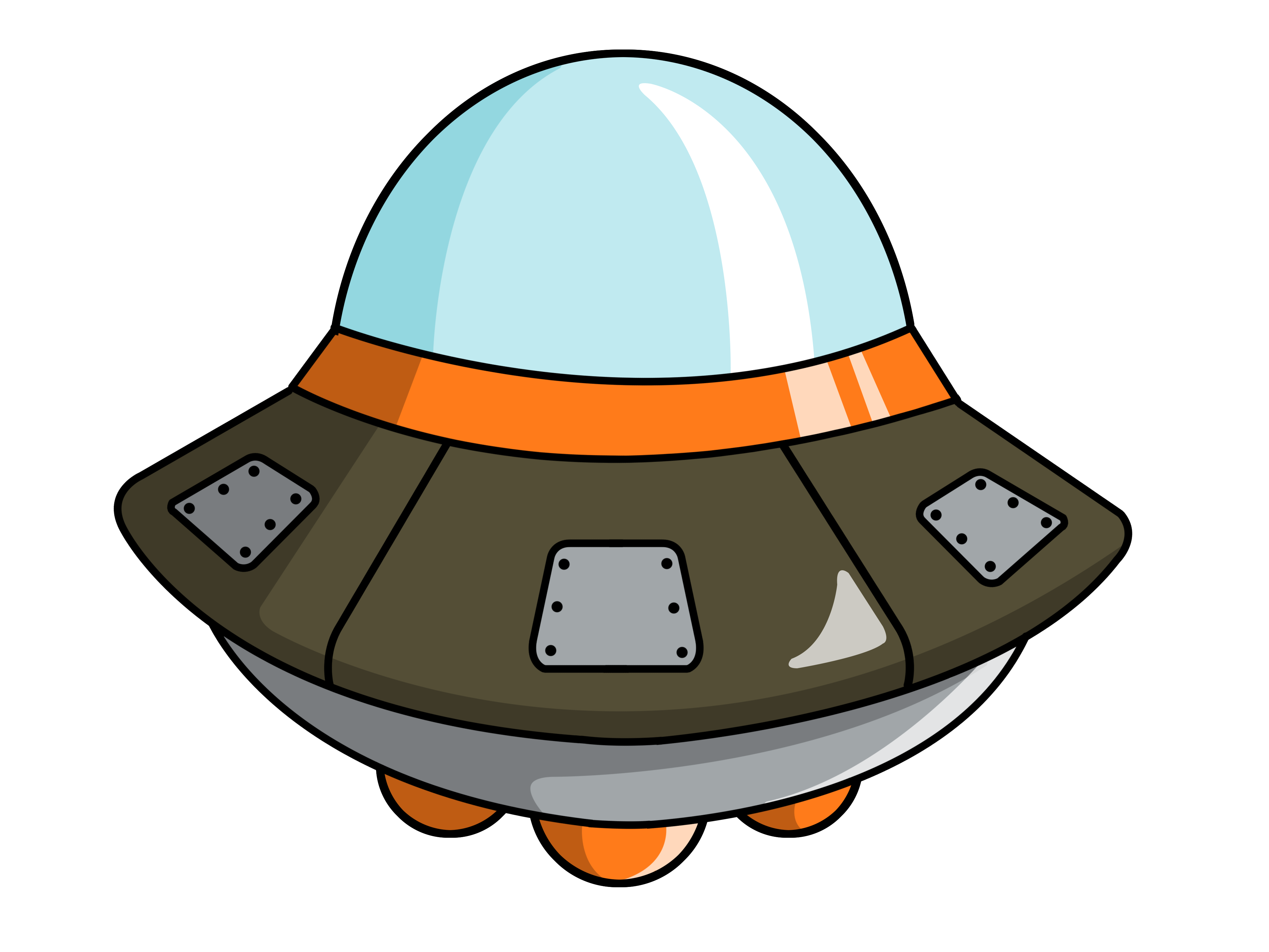4000x3000 Cute Spaceship Clipart 2
