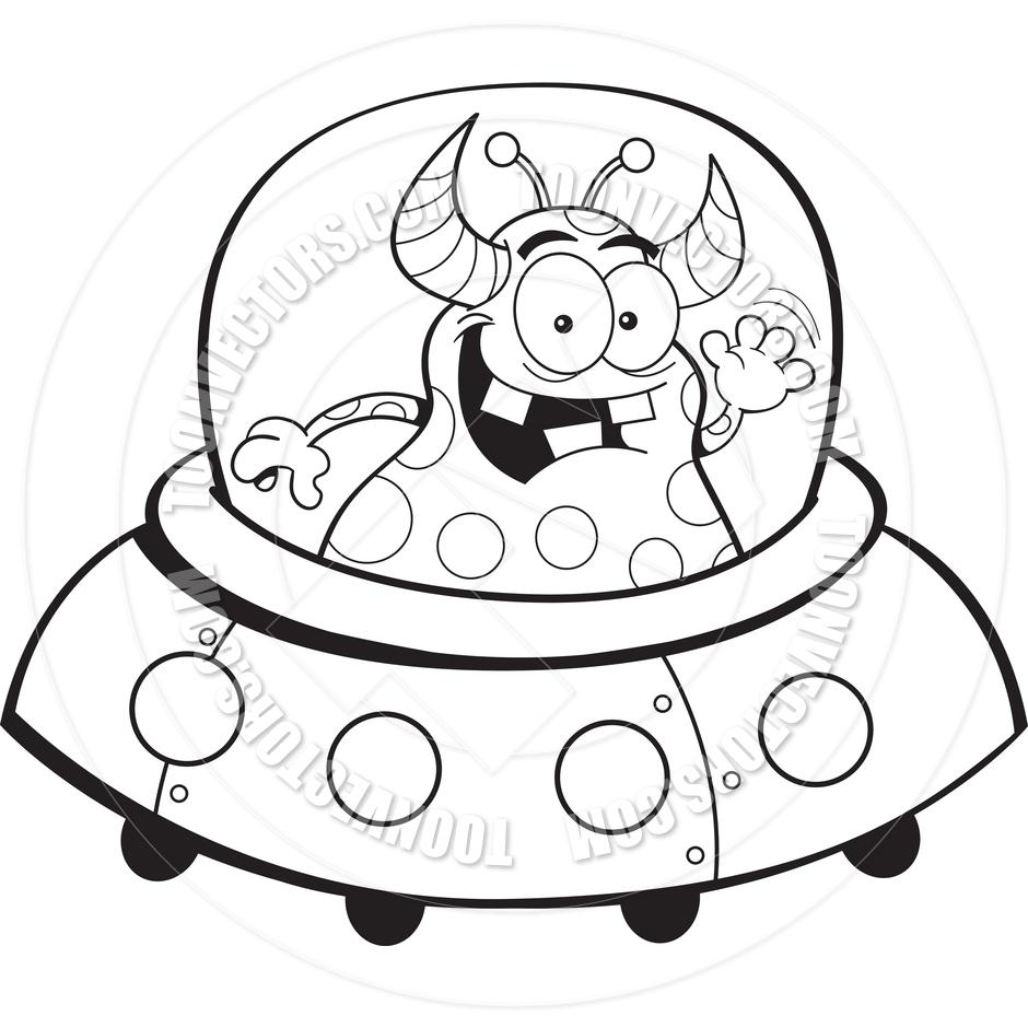 940x940 Cartoon Alien Spacecraft (Black And White Line Art) By Kenbenner