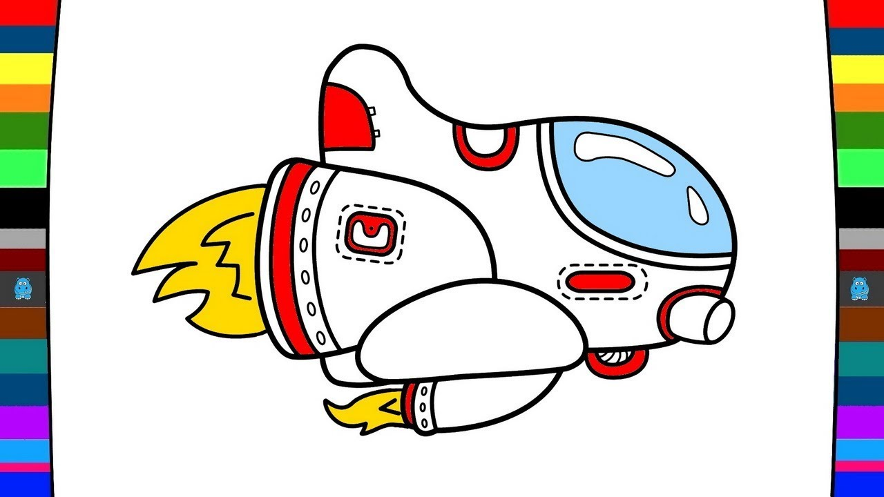 1280x720 How To Draw A Spaceship Drawing And Coloring Pages For Kids