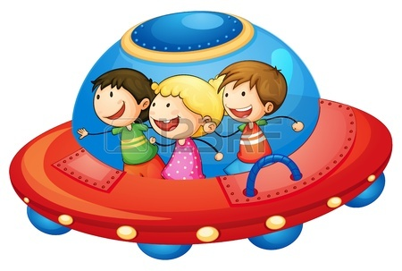 450x303 Illustration Of A Kids In A Spaceship In The Sky Royalty Free