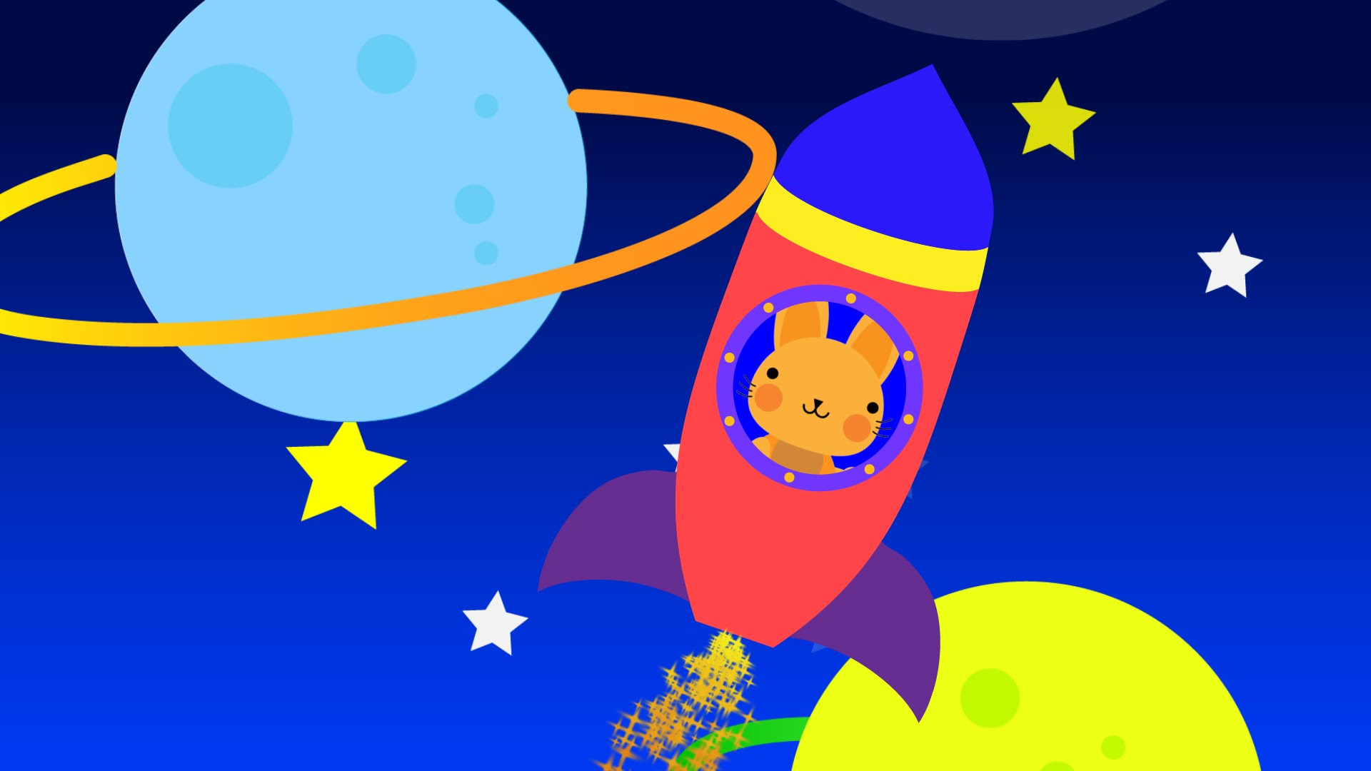1920x1080 Learn Colors With Cute Bunny In Spaceship Exploring Colorful