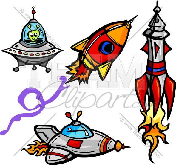 590x552 Space Ships And Rockets Cartoon Vector Illustrations Collection
