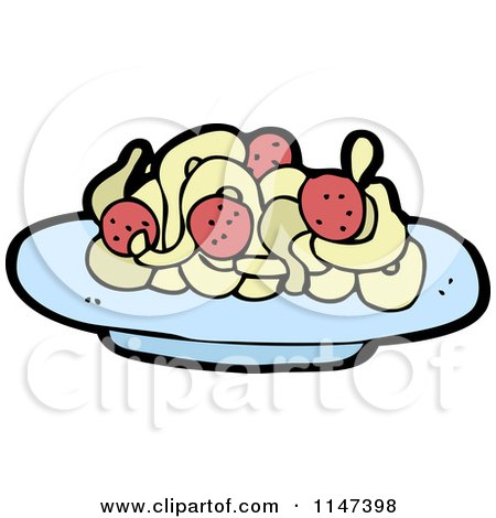 450x470 Cartoon Of A Plate Of Spaghetti And Meatballs